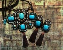Soutache pendant turquoise imitations,  pendant jasper ocean , earrings with tassel dark blue, brown, silver color. Long band. Long cord.
