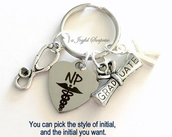 NP Graduation Gift, NP Keychain, NP Keyring Gift for Nurse practitioner, Graduate Key chain Medical Caduceus initial letter Grad Nursing