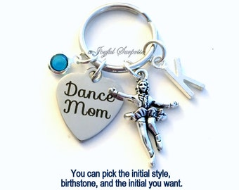 Irish Dance Mom Keychain Step Dance Key Chain Silver Dancer Keyring Dancing Gift Tap Jewelry charm custom letter Initial Birthstone present