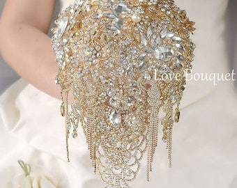 Brooch Bouquet, Bridal Bouquet, Crystal Wedding Brooch Bouquet, With Gold Design, Cascading Wedding Bouquet, Gold Bouquet, Vintage Wedding