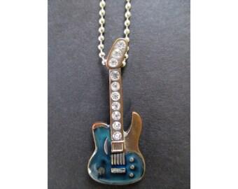 GUITAR Pendant Necklace * Blue Enamel * Rhinestones * Musical Gift