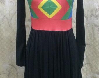 Vintage 1970s Black Dess with Geometric Design