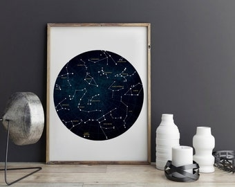 Constellation Art, Constellation Print, Constellation Poster, Constellation, Star Chart, Zodiac Print Constellation Map Zodiac Constellation