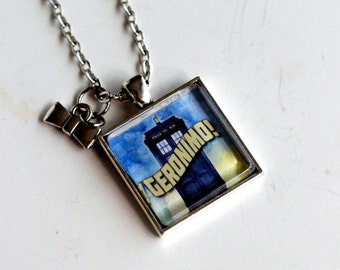 GERONIMO!!!! Tardis pendant, Bowtie charm, 11th Doctor Who inspired necklace