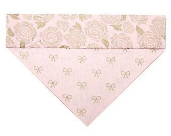 Reversible Dog Bandana - Pink with Metallic Gold Roses and Bows