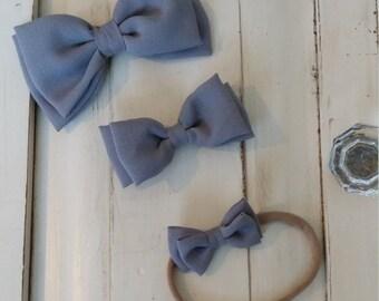 Gray Chiffon Bow