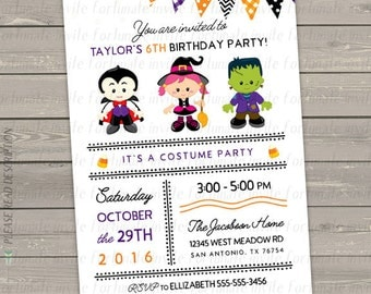 halloween birthday invitation, costume party invitation witch, kids birthday party invites, halloween party invites digital or printed