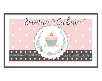 Premade cake business card,  bakery business card, pastel pink purple business card, sweets cupcake business card design
