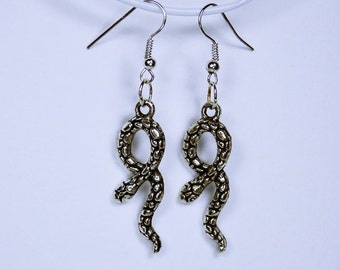 Earrings snake - snake on silver-tone earrings