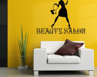 Wall Decal Beauty Salon Sign Murals Hairdresser Hairstyle Hair Barbers Hairdo Hairdressing Tools Hair Salon Vinyl Sticker Home Decor M242