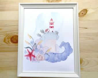 Watercolor Lighthouse Printable Art 8x10