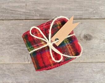 Tartan Plaid Ribbon / Holiday Gift Wrap in Red Plaid / Christmas Ribbon  - 2.5 inch x 5 yards