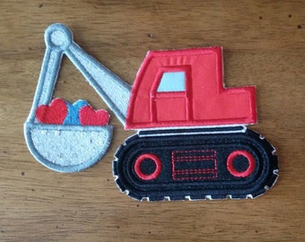 Iron On Applique Valentines Digger