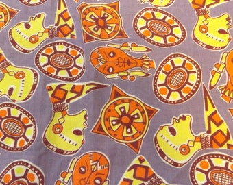 vintage retro African fabric tribal 70s novelty fabric clothing fabric sewing supplies