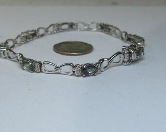 Sterling Silver Mystic Topaz Station Link Bracelet