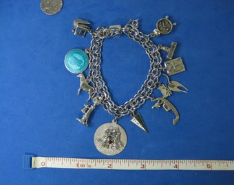 Vintage Sterling Silver Charm Bracelet Animals, Music, Religion and More!