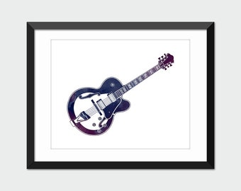 Guitar Art Print, Electric Guitar Printable Blue & Purple Watercolor, Musical Instrument Printable Art, Instant Download