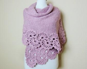 Pink Wedding Shawl, Crochet Shawl, Bridal Stole, Wedding Wrap, Knitted Shawl, Fall Wedding, Rectangular Shawl,Pink Soft Shawl,Winter Wedding