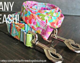 Dog Leash- ALL fabrics available- FREE SHIPPING