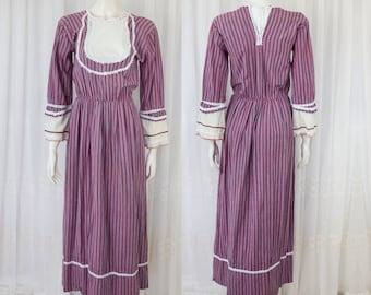 Boho hippie 70's peasant dress cotton