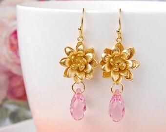 Light Pink Crystal Earrings Bridal Jewelry Swarovski Briolette Earrings Blush Pink Wedding Earrings Gold Flower Earrings Lotus Earrings