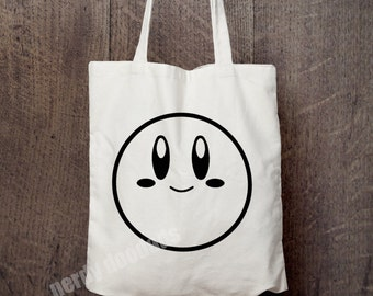 KIRBY Inspired Bag, Cute Kirby Faces Bag, Market Bag, Reusable Grocery Bag, Tote Bag, Canvas Tote Bag, Nintendo Fandom