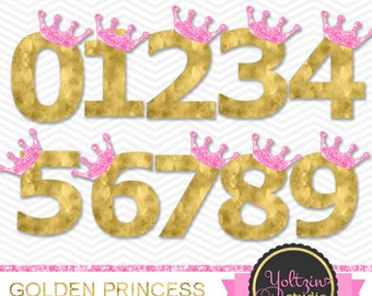 Princess Clipart, golden clipart, gold princess clipart numbers, Numbers clip art, digital PNG images number