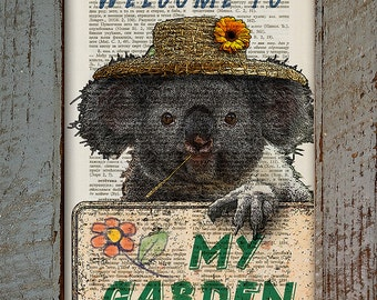 Koala Gardener With Straw Hat, Koala With Flower, Straw Hat With Flower, Welcome To Garden, Vintage Book Page Print, Dictionary Page Print