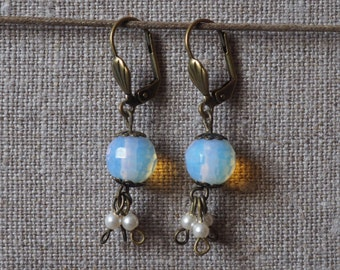 Earrings opaline and cultured pearls