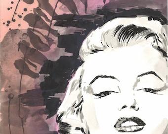 Marilyn Monroe Water Color Painting