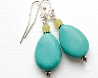 Turquoise and Serpentine Earrings with Nickel-Free Earring Hooks