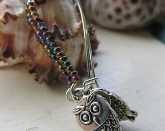 Owl earrings , Beaded earrings ,Kidney wire earrings , Silver plated earrings , Tibetan silver charm earrings