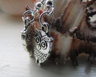Owl earrings , Silver plated earrings , Charm earrings , Dangle earrings , Hooked earrings