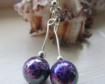 Purple earrings , Beaded earrings , Silver plated earrings , Dangle earrings , Drop earrings
