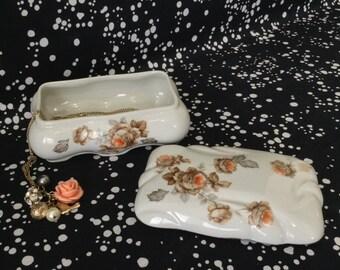 Peach Blossom~Gilded Porcelain Box~Jewelry~Trinket