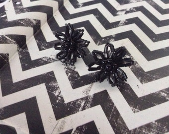c1950's~Coal Flower Earrings~Black Bead~Screw Back