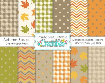 Autumn Basics Digital Paper Pack Printable Patterns Instant Download - Includes Limited Commercial Use!