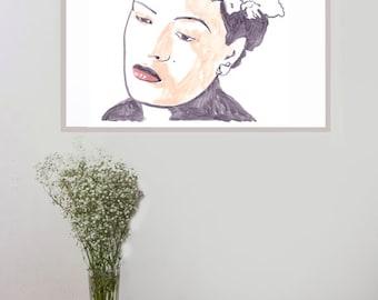 Original Drawing, Wall Art print, Pop Art print, Pop Star Poster, original artwork, Illustration, Celebrity, Billie holiday art print