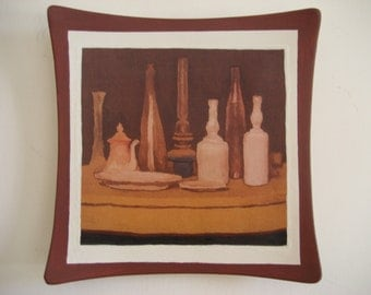 Hand painted ceramic plate: sepia still life with bottles (020-2015 )