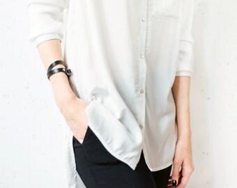 Black leather bracelet, Double wrap bracelet, Women leather bracelet, Leather bangle Black leather bracelet wrap around wrist, wrap bracelet