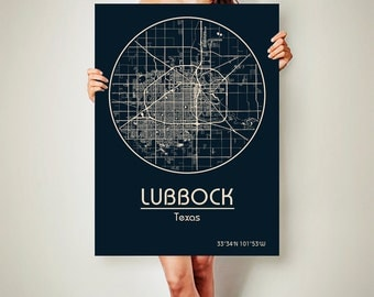 LUBBOCK Texas Map Lubbock Poster City Map Lubbock Texas Art Print Lubbock Texas poster Lubbock Texas map art Poster Lubbock Texas