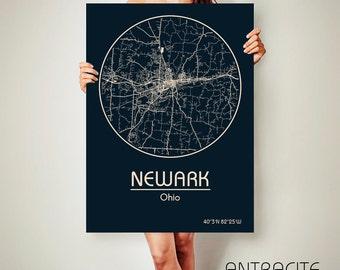 NEWARK Ohio CANVAS Map Newark Ohio Poster City Map Newark Ohio Art Print Newark Ohio poster Newark Ohio map art Poster