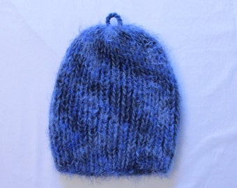 Blue Fuzzy Knitted Hat