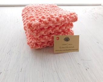 Knitted washcloth, peach washcloth, cotton washcloth, handmade, knitted, peach, pink, 2 pack