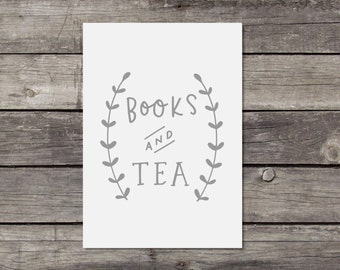 Book Wall Art Gift For Book Lovers Tea Print Books And Tea Print Book Print Bookish Gift Bookworm Wall Art Tea Lover Print Bookish Decor