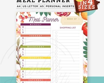 Weekly Meal Planner PDF Printable in 4 Sizes, Diy Shopping list, A4/Letter, Personal Inserts, A5 Inserts, Desk Manager, Instant Download