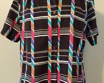 Vintage 70's Levi's Button-up Blouse with Bold Graphic Motif | Geometric | Grunge | Boyfriend Fit