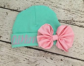 Aqua and Pink Newborn Girl hat.newborn baby.aqua and pink bow newborn hat.new baby hat.baby girl hat.take home hat.newborn photo prop hat