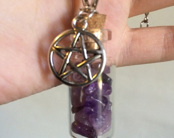 Amethyst Bottle Necklace w/ Pentagram Charm
