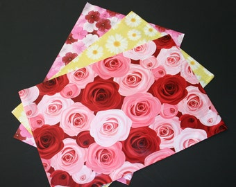 100 Assorted Designer Poly Mailers 10x13 Pink Red Hibiscus Roses Yellow Daisies Flowers Envelopes Shipping Bags Spring Mother's Day